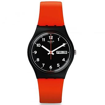 Swatch Gb754 Red Grin Red & Black Silicone Watch