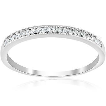 1/8ct Diamond Wedding Ring 10K White Gold