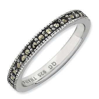 3mm Sterling Silver Polished Rhodium-plated Stackable Expressions Marcasite Band Ring - Ring Size: 5 to 10
