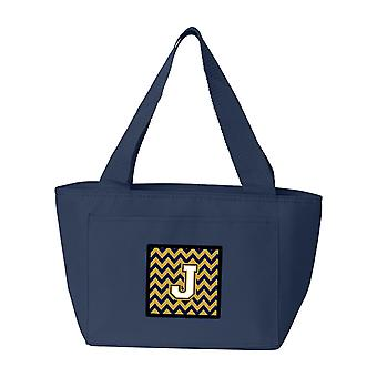 Buchstabe J-Chevron-Navy-Blau und Gold Lunch Bag