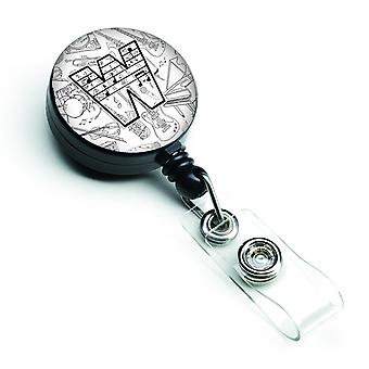 Letter W Musical Note Letters Retractable Badge Reel