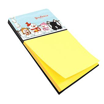 Merry Christmas Carolers French Bulldog Brindle Sticky Note Holder