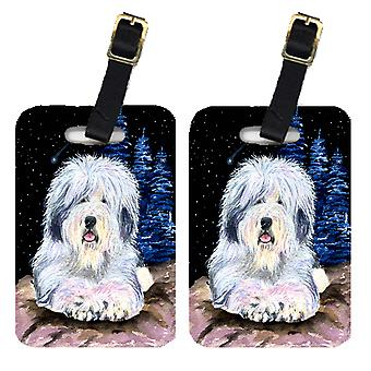 Carolines Treasures  SS8443BT Starry Night Old English Sheepdog Luggage Tags Pai