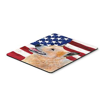 USA American Flag with Australian Cattle Dog Mouse Pad, Hot Pad or Trivet