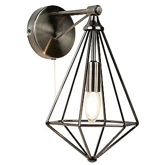 Searchlight 2541SI Diamond One Light Wall Light In Antique Silver