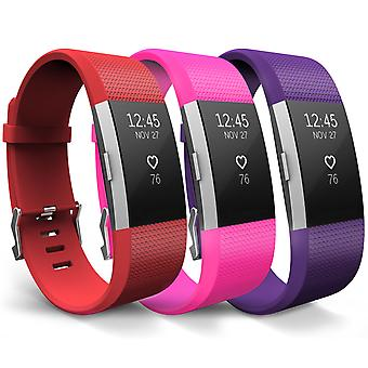 Yousave Fitbit Charge 2 Strap 3-Pack (Large) - Red/Hot Pink/Plum
