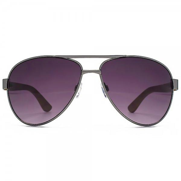 Fenchurch Bamboo Temple Pilot Sunglasses In Brushed Silver