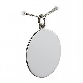 Silver 27x21mm plain oval Disc with a curb Chain 24 inches