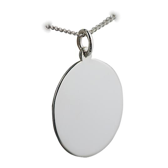 Silver 27x21mm plain oval Disc with a curb Chain 18 inches