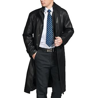 Mens Top Quality Parka Full Length Leather Coat
