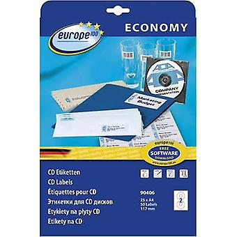 Europe 100 CD labels 90406 Ø 117 mm Paper White 50 pc(s) Permanent Smearproof Inkjet, Laser