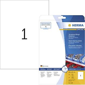 Herma 4698 Labels (A4) 210 x 297 mm Polyester film White 25 pc(s) Permanent All-purpose labels, Weatherproof labels
