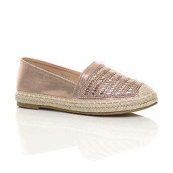 Ajvani Women 's flat plattform espadrilles loafers diamante flatform sko