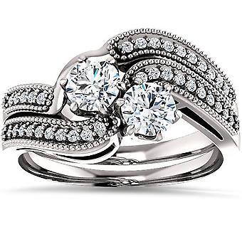 ستون اثنين 1.00 قيراط الماس إلى الأبد لنا خاتم الخطوبة مجموعة 10 كيلو الذهب الأبيض