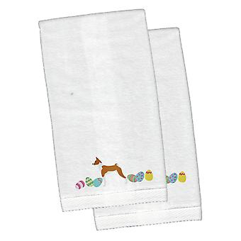 Basenji Easter White Embroidered Plush Hand Towel Set of 2