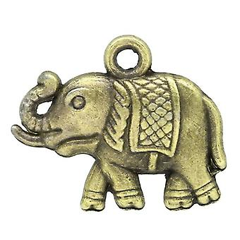 Packet 10 x Steampunk Antique Bronze Tibetan 18mm Elephant Charm/Pendant ZX07000