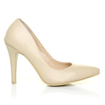 DARCY Nude PU Leather Stilleto High Heel Pointed Court Shoes