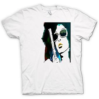 Womens T-shirt - Pop Art Girl With Pistol - Cool Art