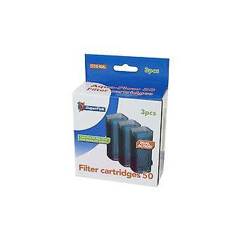 Superfish Aquarium Filter Aqua-Flow 50 Easy Click Cartridge x 3 150g
