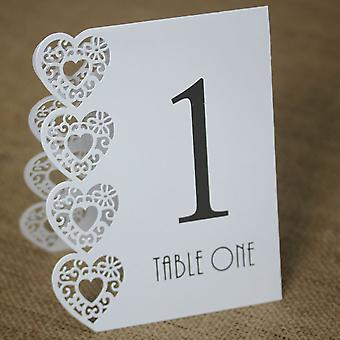 White Wedding Table Numbers 1-15 Laser Heart Design