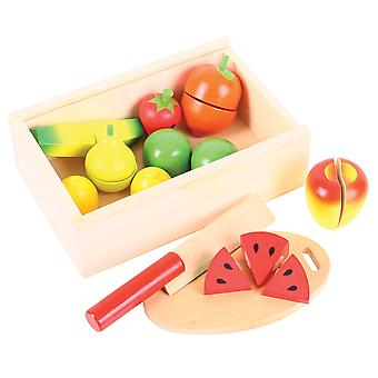 Bigjigs Toys Wooden Play Food Cutting Fruit Pretend Roleplay Set