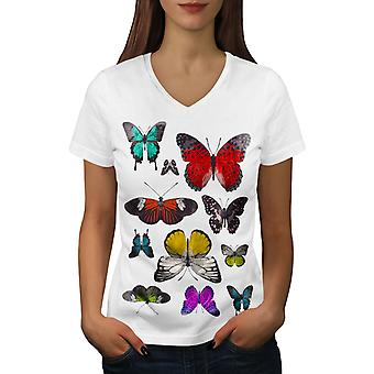 Butterfly Collection Women WhiteV-Neck T-shirt | Wellcoda