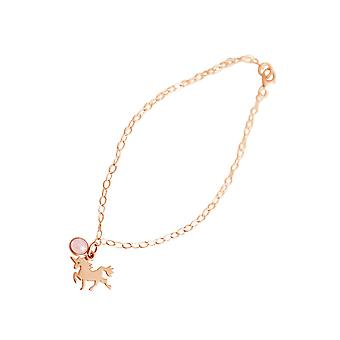 GEMSHINE bracelet with Unicorn and Rose Quartz gemstone. 18 cm bracelet made of 925 Silver. Solid 925 Silver, gold plated, gold plated rose. Made in Spain. Gift pouch