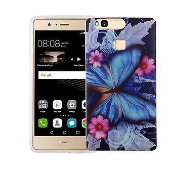 Handy Hülle für Huawei P9 Cover Case Schutz Tasche Motiv Slim Silikon TPU Blauer Schmetterling