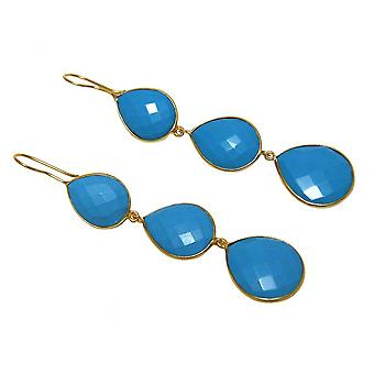 Gold plated earrings - 925 - 9 cm - turquoise - blue - dripping-
