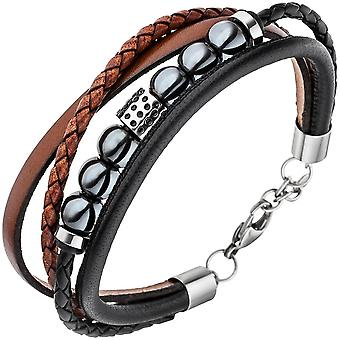 Men's 4-row leather Black Brown Hematite balls and stainless steel bracelet 23 cm