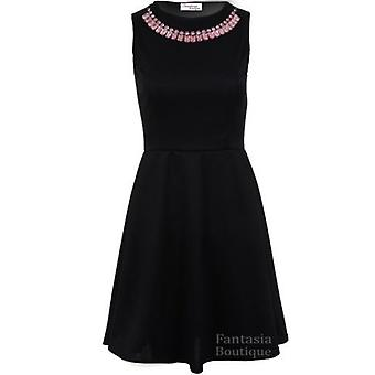 Ladies Luminous Diamante Necklace Evening Smart Women's Skater Dress