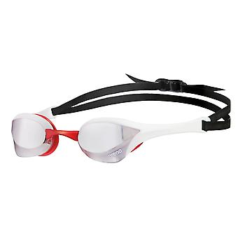 Arena Cobra Ultra Mirror Swim Goggle-Mirrored Lens-Silver/White/Red