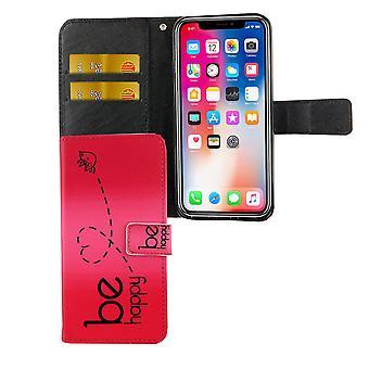 Apple iPhone caso tampa protetora caso Flip com compartimento ser feliz rosa XS