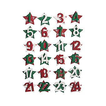 24 Star Christmas Advent Calendar Numbers - Red Green & White