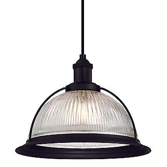 One Light Indoor Pendant RETRO Matte Black with Clear Ribbed Glass