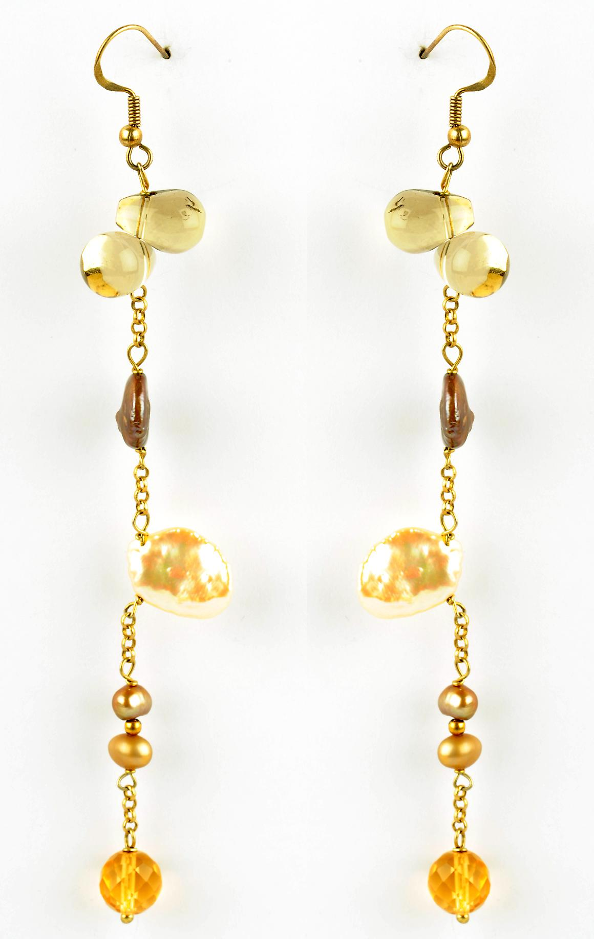 Waooh - Fashion Jewellery - WJ0778 - On Ear Earrings with Semi Precious Stone Rhinestone Swarovski- - Frame Colour GOLD