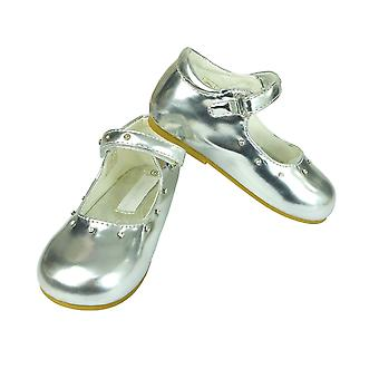 Romano Mary Jane Patent Diamante Strap Girls Party Silver Shoes