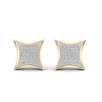 IGI Certified 10k Yellow Gold 0.25 Ct Brilliant Diamond Cluster Stud Earrings I2