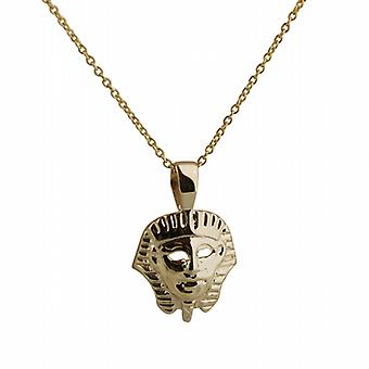 9ct Gold 16x15mm Egyptian Mask Pendant with a cable Chain 16 inches Only Suitable for Children