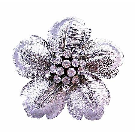 Beautiful Flower Petals In Silver Wedding Brooch Pin Jewelry