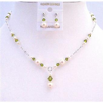 Olivine Swarovski Crystals Ivory Pearls Jewelry Drop Down Necklace Set