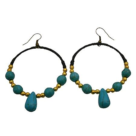 Trendy Fashion Hand knitted Wax Chord Earrings w/ Gold Turquoise Beads