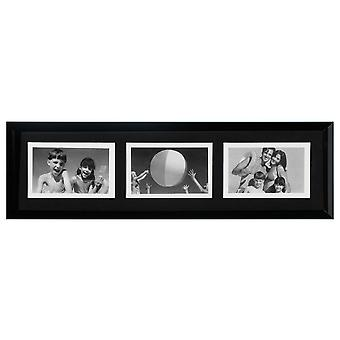 Collage - Wall Mounted Photo Frame - met drie 6 x 4 openingen - Black