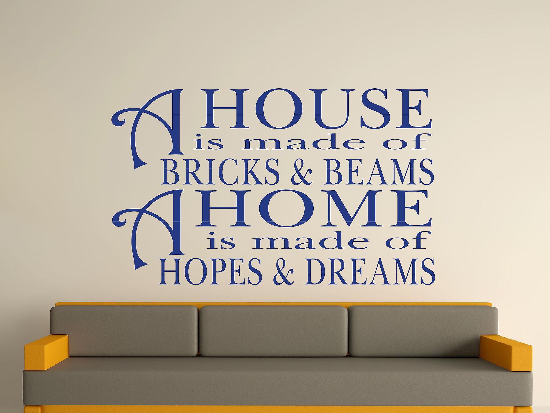 A House Is Made Of Bricks And Beams v2 Wall Art Sticker - Azure