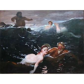 The Waves,Arnold Bocklin,50x38cm
