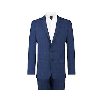 Dobell Mens Blue Check 2 Piece Suit Regular Fit Notch Lapel