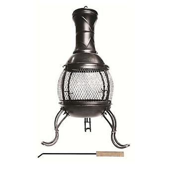 Garden Outdoor Chiminea Fire Pit Log Burner Black 89Cm