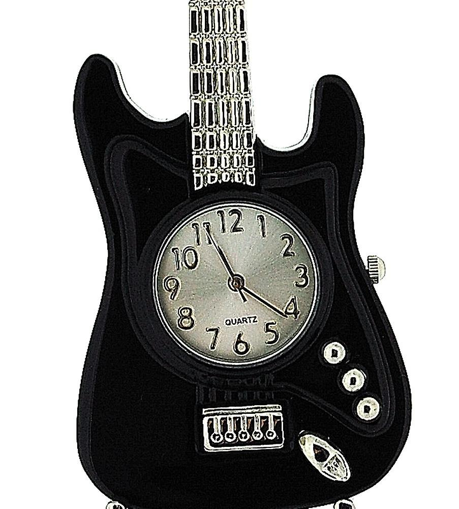 Miniature Ornamental Collectors Novelty 0354 Guitar Stand On Black Clock Ybvg6If7y