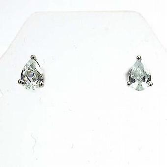 The Olivia Collection Sterling Silver Clear Cz Tear Drop Stud Earrings