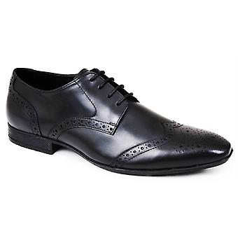 Mens Leather Formal Shoes Brogues Lace Up Smart Wedding Dress Office